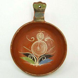 Vintage Mexican Terracotta Pottery Bowl Pot Handle